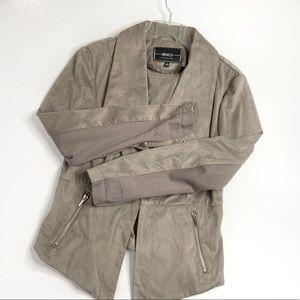 BNCI Blanc Noir Gray Suede Draped Jacket